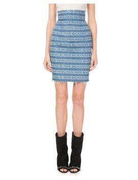 High Waist Logo Striped Denim Skirt by Balmain