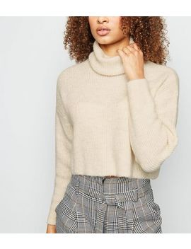 Off White Roll Neck Boxy Jumper by New Look