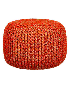 House By John Lewis Chunky Knit Pouffe, Chilli by House By John Lewis