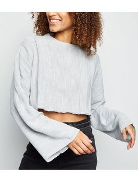 Cameo Rose Grey Stripe Cropped Jumper by New Look