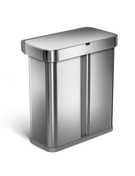 Simplehuman Dual Compartment 58 L Sensor Can, Stainless Steel by Williams   Sonoma