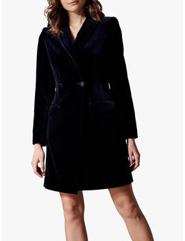 Karen Millen Velvet Tux Dress, Navy by Karen Millen