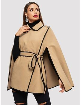 Contrast Binding Buttoned Shoulder Wrap Cape Coat by Shein