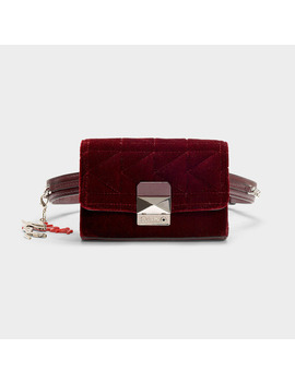 Karl X Kaia Velvet Bumbag In Burgundy Cotton by Karl Lagerfeld