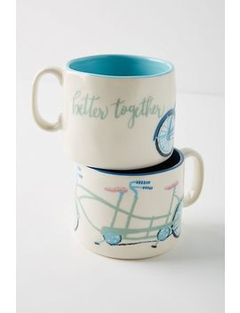 A Bicycle For Two Mugs, Set Of 2 by Anthropologie