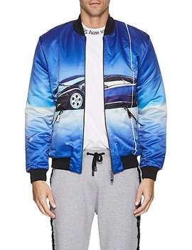Car Print Satin Bomber Jacket by Blood Brother