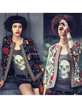 Fashion Women Lady Sexy Slim Floral Printed Crop Coat Jacket Zip Parka Outwear by Unbranded/Generic