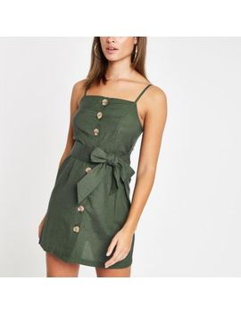 Green Button Detail Tie Waist Beach Dress by River Island
