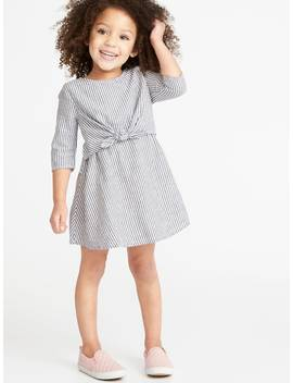 Striped Tie Front 3/4 Sleeve Dress For Toddler Girls by Old Navy