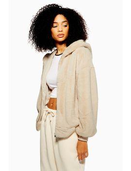 Tall Faux Fur Zip Hoodie by Topshop