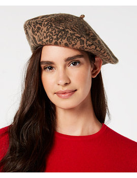 I.N.C. Leopard Print Wool Beret, Created For Macy's by Inc International Concepts