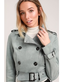 Edinburgh Slate Blue Suede Cropped Trench Coat by Lulus