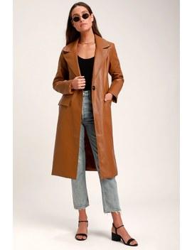 Adelene Camel Vegan Leather Trench Coat by Lulus