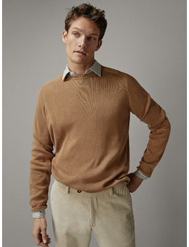 Cotton Sweater With Contrasting Detail by Massimo Dutti