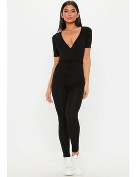 Black Wrap Over Tie Jumpsuit by Missguided