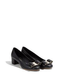 Women's Black Studded Vara Bow Pump Shoe by Ferragamo