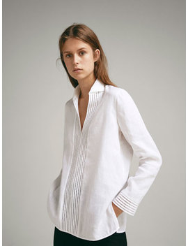 100 Percents Linen Shirt With Lace Trims by Massimo Dutti