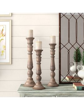 One Allium Way Lincoln 3 Piece Wood Candlestick Set & Reviews by One Allium Way