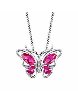AuroraTears Damen Kette Mit Anhänger Schmetterling Stein Design Halskette 925 Sterling Silber by Amazon