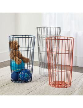 Blue Wire Ball Bin by Crate&Barrel
