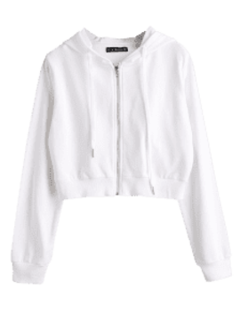 hot-salezaful-drawstring-zip-up-cropped-hoodie---white-m by zaful