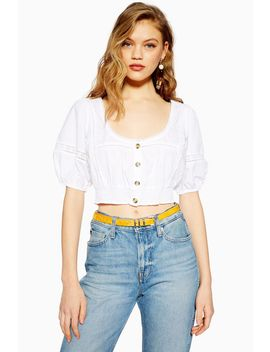 Broderie Knot Front Crop Top by Topshop