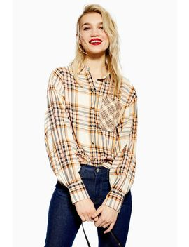 Cream Check Shirt by Topshop