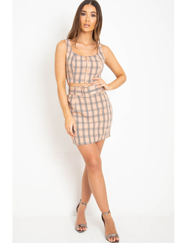 Pink Check Zip Front Bralet Belted Skirt Co Ord   Cherise by Rebellious Fashion