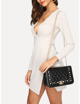 Faux Pearl And Studded Detail Chain Crossbody Bag by Sheinside