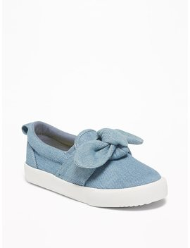 Chambray Bow Tie Slip Ons For Toddler Girls by Old Navy