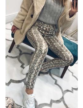 Rochelle Brown Snake Skinny Jeans by Misspap