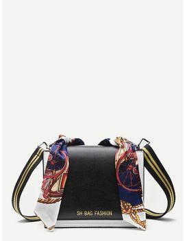 Twilly Scarf Crossbody Bag With Striped Strap by Sheinside