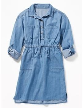 Waist Defined Utility Shirt Dress For Girls by Old Navy