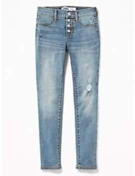 High Rise Button Fly Distressed Rockstar Jeggings For Girls by Old Navy