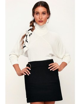 Dessa Ivory Ribbed Mock Neck Long Sleeve Top by Project Social T
