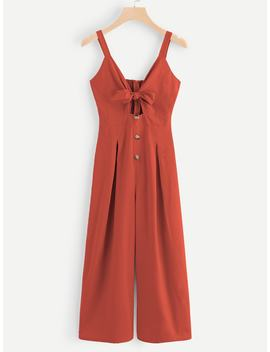 Cut Out Knot Front Shirred Back Jumpsuit by Romwe
