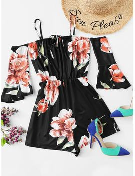 Floral Print Flounce Sleeve Romper by Romwe