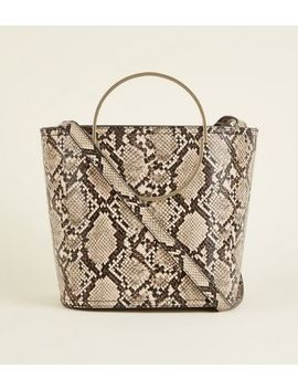 Stone Faux Snake Ring Handle Bucket Bag by New Look