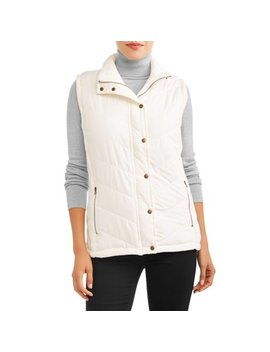 Women's Puffer Vest With Cable Knit Side Panels by Jason Maxwell