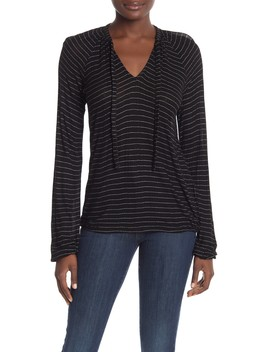 Tie Neck Stripe Top by Lucky Brand