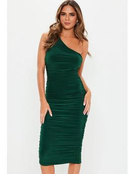 Green Ruched One Shoulder Slinky Midi Dress by Missguided