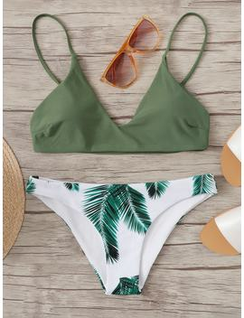 Random Leaf Print Mix And Match Bikini Set by Romwe