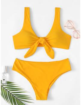 Knot Front Plunge Bikini Set by Romwe