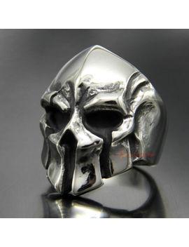 Men's Vintage Stainless Steel Spartan Warrior Skull Ring Greek Gladiator Helmet by Ec4 Shop