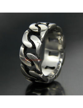 316 L Stainless Steel Band Cuban Link Chain Ring Men Women 9mm Wide Silver Tone by Ec4 Shop