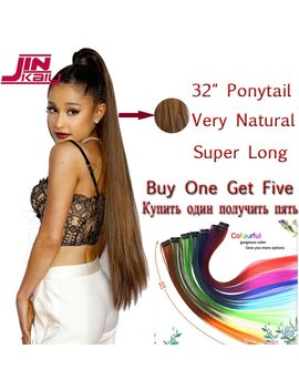 "Jinkaili  85cm 32"" Super Long Straight Clip In Tail False Hair Ponytail Hairpiece With Hairpins Synthetic Pony Tail Extensions by Jinkaili"