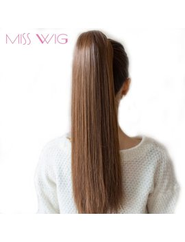 "Miss Wig 12 Colors Available 22"" Long Silky Straight Synthetic Drawstring Ponytail Clip In Extension Style High Temperatur Fiber by Miss Wig"