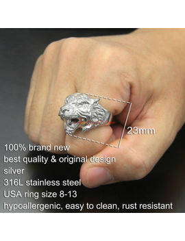 316 L Stainless Steel Platinum Plated Tiger Head Ring Unique Men's Animal Jewelry by Ec4 Shop