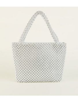 Silver Beaded Grab Tote Bag by New Look