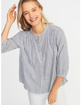 Button Front Striped Swing Shirt For Women by Old Navy